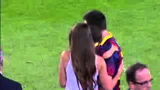 Messi and his son in camp nou   Barcelona vs Real Sociedad