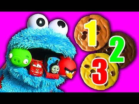 Cookie Monster Count N Crunch Eats Disney Cars Angry Birds Thomas The Tank & Friends