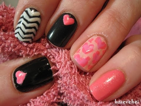 Heart mix nails - pink white black - Serduszkowy mix na paznokciach - Basevehei