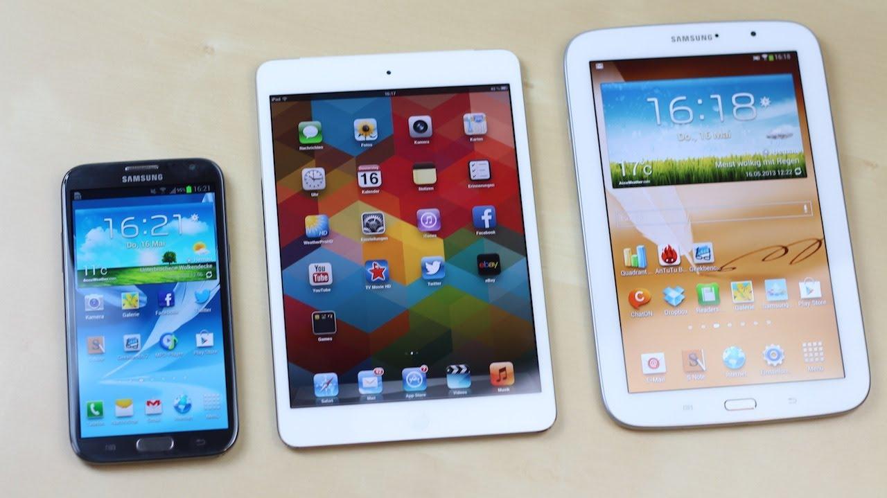 Samsung Galaxy Note 8.0 vs Apple iPad Mini vs Note 2 ...