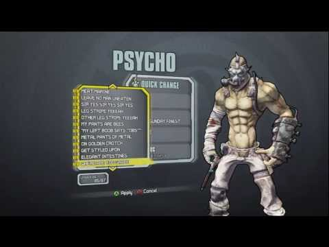 Borderlands 2 - Psycho Class Krieg - All Skins and Heads