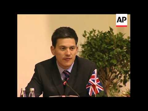 British Foreign Secretary Miliband meeting South African FM