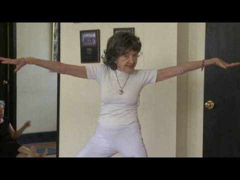 91-year-old yoga instructor hard at work