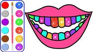 Dibujo y colorear páginas con dientes, pasta de dientes para niños