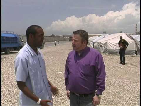 Bishop David Huskins at unoccupied usaid tents in Port Au Prince, Haiti