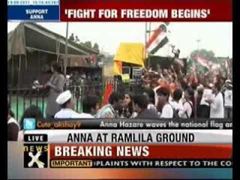 Anna Hazare At Ramlila Maidan video