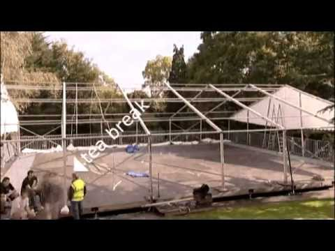 A timelapse of the staff of County Marquees scurrying around to put up a beautiful wedding marquee a