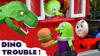 Funny Funlings Dinosaur Mayhem with McDonalds Drive Thru and Thomas Train