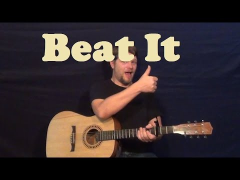 Beat It Michael Jackson Easy Strum Guitar Lesson - Standard Tuning - How to Play Tutorial