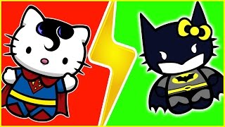 Hello Kitty Superheroes Finger Family, Superman VS Batman, Ironman Hulk and Spiderman, Nursery Rhyme