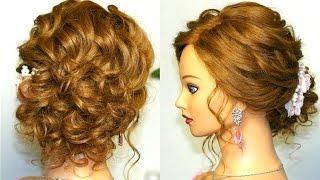 Свадебная прическа для средних волос.
