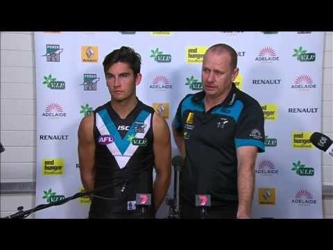 PTV: Ken Hinkley and Chad Wingard post-match v Cats, R9, 2013
