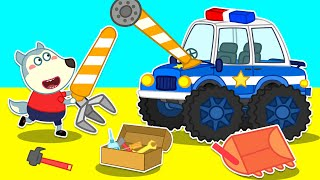 Wolf Family🌞Wolfoo Assembles Special Police Super Cars From Cranes Truck and Excavator Trucks