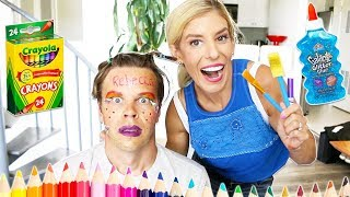Wife Does My Makeup Only Using Back to School Supplies!
