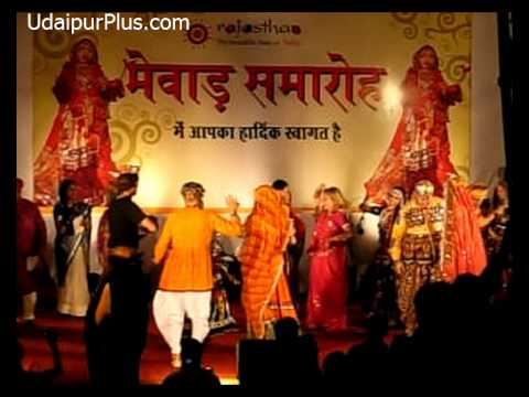 Foreign tourist's performance during Mewar Festival 2011 at Udaipur, Rajasthan.