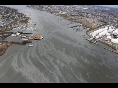 Oil Spill on Arthur Kill River After Hurricane Sandy
