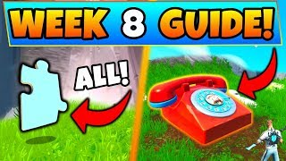 Fortnite WEEK 8 CHALLENGES! - Jigsaw Puzzle Pieces, Dial Durrr Burger (Battle Royale Season 8 Guide)