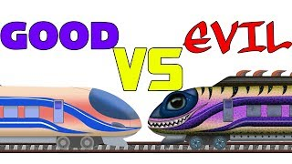 Good vs Evil Train | Vehicle Battles For Children | cartoon about trains