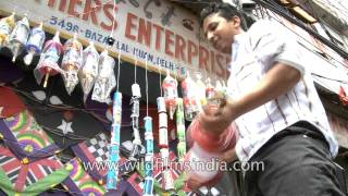 Kite shop on the streets of Lal Kuan, Old Delhi