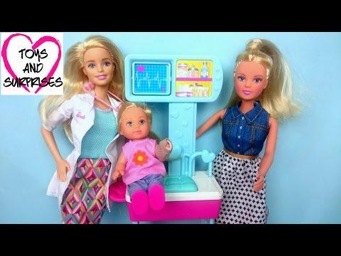 Мультфильм для девочек: Кукла Штеффи идет к доктору Барби с Еви Куклы Развивающие игрушки для детей