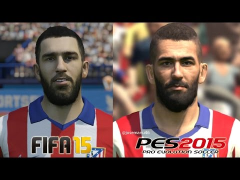 FIFA 15 vs PES 2015 ATLETICO DE MADRID Face Comparison (Arda Turan, Godin, Koke)