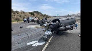 CALTRANS GRADER HIT BY TRUCK ON 73 TOLL ROAD- RAW VIDEO