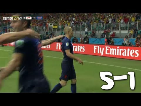 ARJEN ROBBEN!! Spain vs Netherlands 1-5 - FIFA World Cup 2014 - [Review + Highlights - 13/06/2014]