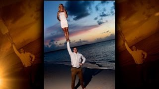 Couple Announces Engagement in Epic Cheerleader Pose Photo