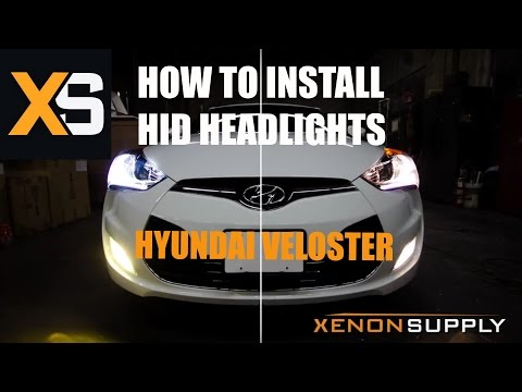 Hyundai Veloster HID - Install HID on OEM Headlight Bumper Removal & Modified H7 Bulb Adaptor
