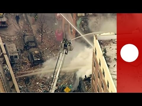 Buildings collapse after massive explosion in Harlem, New York