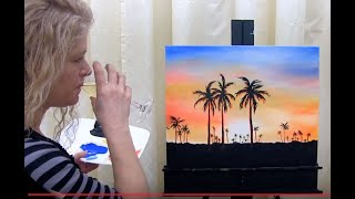 How to Paint a Hawaiian Sunset and Palm Trees with Acrylics