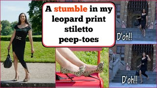 Crossdresser - stumbling in leopard print stiletto high heels | NatCrys
