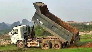 Bé xem xe tải ben howo chở và đổ đất | Nhạc thiếu nhi : Chú voi con ở bản đôn | Tientube TV