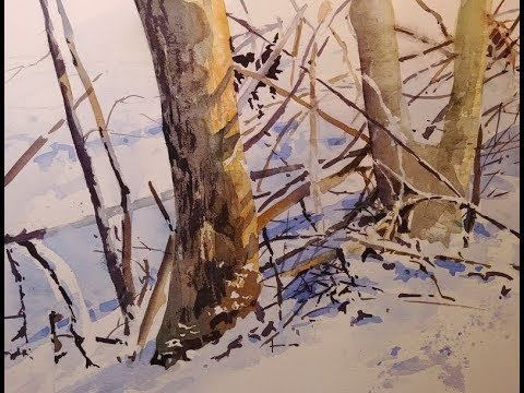 """Transparent Watercolor Narrated Step by Step Tutorial """"Winter Underbrush"""""""