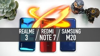 Redmi Note 7 vs Realme 3 vs Galaxy M20: Battery | PUBG | Camera | Full Comparison [Hindi]