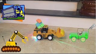 Bé chơi đồ chơi xe ủi phát sáng -đồ chơi xe ủi -đồ chơi cho bé