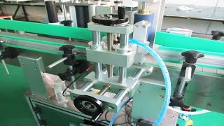 PET bottles jars automatic labeling machines turntable feeding round jars labeller 全自動圓瓶貼標機帶理瓶機