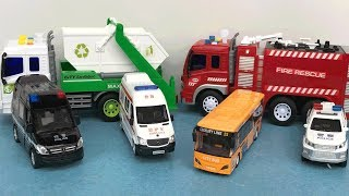 Car for kids, Learn Name and sounds Car,  Ambulance, Fire truck, Police car, City Bus - Kids learn