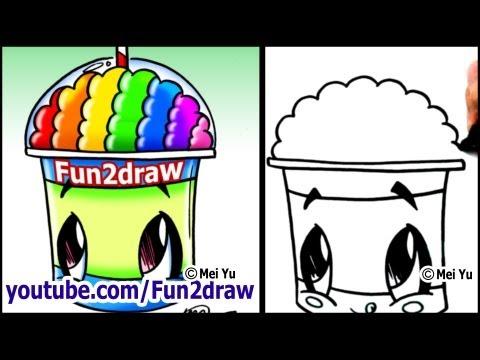 Draw a Cartoon Slushie - With a Rainbow BRAIN???