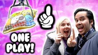 ONE PLAY claw machine challenge at NeoFuns arcade!