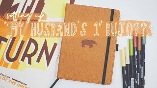 Setting Up My Husband's First BuJo?? 70s Theme Bullet Journal Plan With Me // PLANT BASED BRIDE