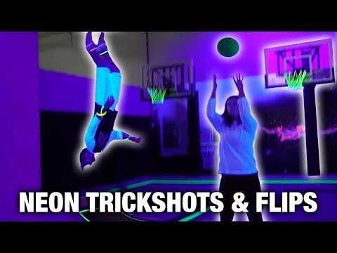 GLOW IN THE DARK TRICK SHOTS AND FLIPS (AT TRAMPOLINE PARK)