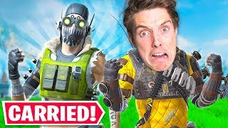 I Got CARRIED by LazarBeam and a PRO in this... - Apex Legends