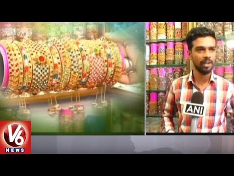 City Women Shows Interest To Buy Variety & New Design Bangles At Charminar | Hyderabad | V6 News