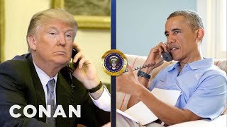 Trump Calls Obama To Talk About Syria & Afghanistan  - CONAN on TBS