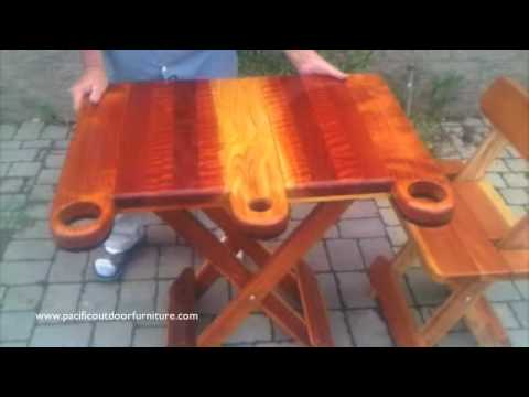 Folding Redwood Table-www.MichaelFrazierDesigns.com