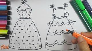 Đồ chơi trẻ em : vẽ và tô màu 2 bộ váy công chúa xinh đẹp / Ami Channel