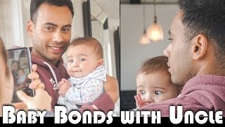 BABY BONDS WITH UNCLE! - FAMILY VLOGGERS DAILY VLOG