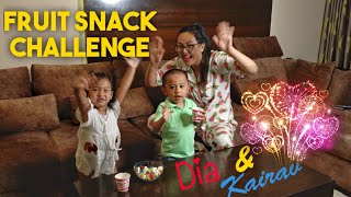 Fruit Snack Challenge with Dia & Kairav | Kids Experiment | Resisting Candy