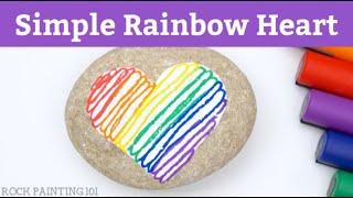 Simple Striped Rainbow Heart Rock Painting Tutorial